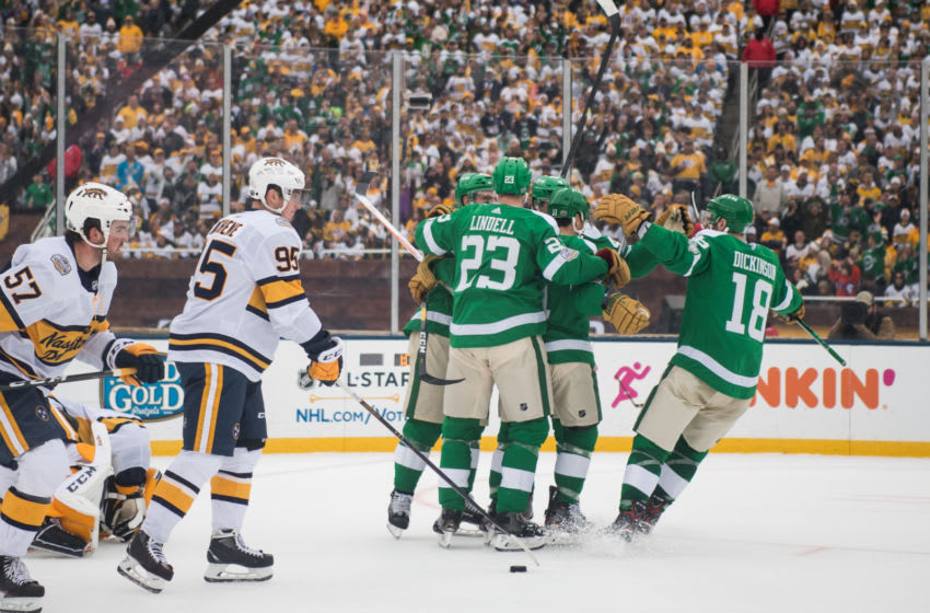 DALLAS, TEXAS - JANUARY 01: The Dallas Stars celebrate a goal during the 2020 NHL Winter Classic between the Nashville Predators and the Dallas Stars at Cotton Bowl on January 01, 2020 in Dallas, Texas. (Photo by Sean Berry/NHLI via Getty Images)