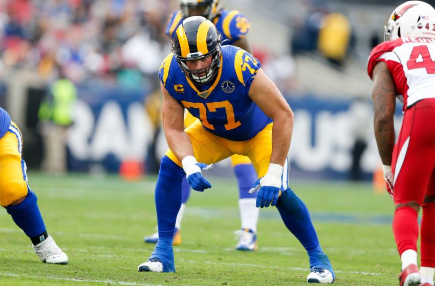 LOS ANGELES, CA - DECEMBER 29: Los Angeles Rams offensive tackle Andrew Whitworth (77) during an NFL game between the Arizona Cardinals and the Los Angeles Rams on December 29, 2019, at the Los Angeles Memorial Coliseum in Los Angeles, CA. (Photo by Jordon Kelly/Icon Sportswire via Getty Images)