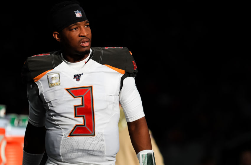 ATLANTA, GA - NOVEMBER 24: Jameis Winston #3 of the Tampa Bay Buccaneers looks on from the sideline during a game against the Atlanta Falcons at Mercedes-Benz Stadium on November 24, 2019 in Atlanta, Georgia. (Photo by Carmen Mandato/Getty Images)
