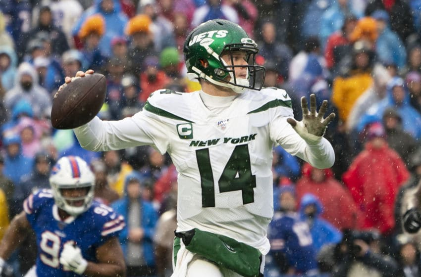 ORCHARD PARK, NY - DECEMBER 29: New York Jets Quarterback Sam Darnold (14) throws the ball during the first half of the National Football League game between the New York Jets and the Buffalo Bills on December 29, 2019, at New Era Field in Orchard Park, NY. (Photo by Gregory Fisher/Icon Sportswire via Getty Images)