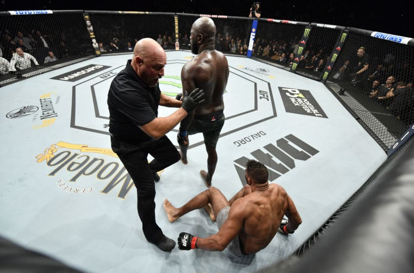 WASHINGTON, DC - DECEMBER 07: (L-R) Jairzinho Rozenstruik of Suriname celebrates his KO victory over Alistair Overeem of Netherlands in their heavyweight bout during the UFC Fight Night event at Capital One Arena on December 07, 2019 in Washington, DC. (Photo by Jeff Bottari/Zuffa LLC via Getty Images)