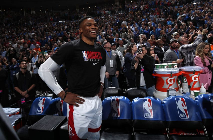 OKLAHOMA CITY, OK - JANUARY 9: Russell Westbrook #0 of the Houston Rockets looks on during his welcoming back video to Oklahoma City before the game on January 9, 2020 at Chesapeake Energy Arena in Oklahoma City, Oklahoma. NOTE TO USER: User expressly acknowledges and agrees that, by downloading and or using this photograph, User is consenting to the terms and conditions of the Getty Images License Agreement. Mandatory Copyright Notice: Copyright 2020 NBAE (Photo by Jeff Haynes/NBAE via Getty Images)