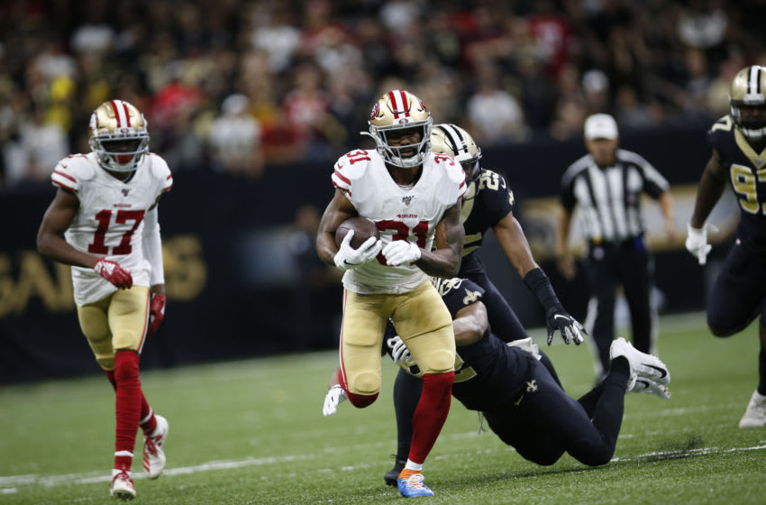 NEW ORLEANS, LA - DECEMBER 8: Raheem Mostert #31 of the San Francisco 49ers rushes during the game against the New Orleans Saints at the Mercedes-Benz Superdome on December 8, 2019 in New Orleans, Louisiana. The 49ers defeated the Saints 48-46. (Photo by Michael Zagaris/San Francisco 49ers/Getty Images)