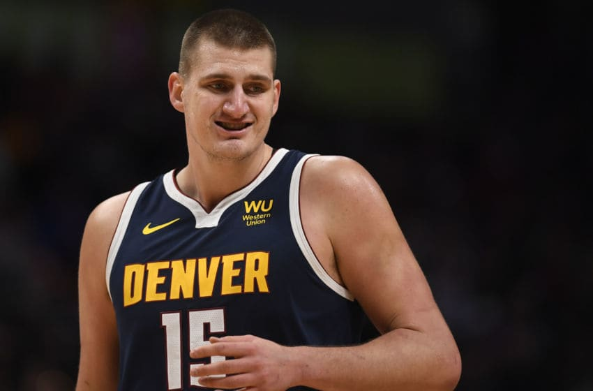 Nikola Jokic (15) of the Denver Nuggets prepares to play defense against the Portland Trail Blazers (Photo by AAron Ontiveroz/MediaNews Group/The Denver Post via Getty Images)