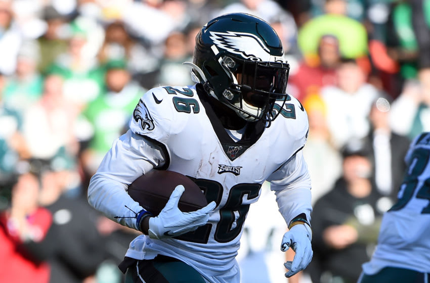 LANDOVER, MD - DECEMBER 15: Miles Sanders #26 of the Philadelphia Eagles runs against the Washington Redskins during the first half at FedExField on December 15, 2019 in Landover, Maryland. (Photo by Will Newton/Getty Images)