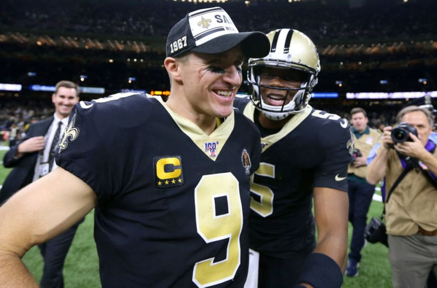 NEW ORLEANS, LOUISIANA - DECEMBER 16: Drew Brees #9 of the New Orleans Saints and Teddy Bridgewater #5 celebrates a win against the Indianapolis Colts at the Mercedes Benz Superdome on December 16, 2019 in New Orleans, Louisiana. (Photo by Jonathan Bachman/Getty Images)