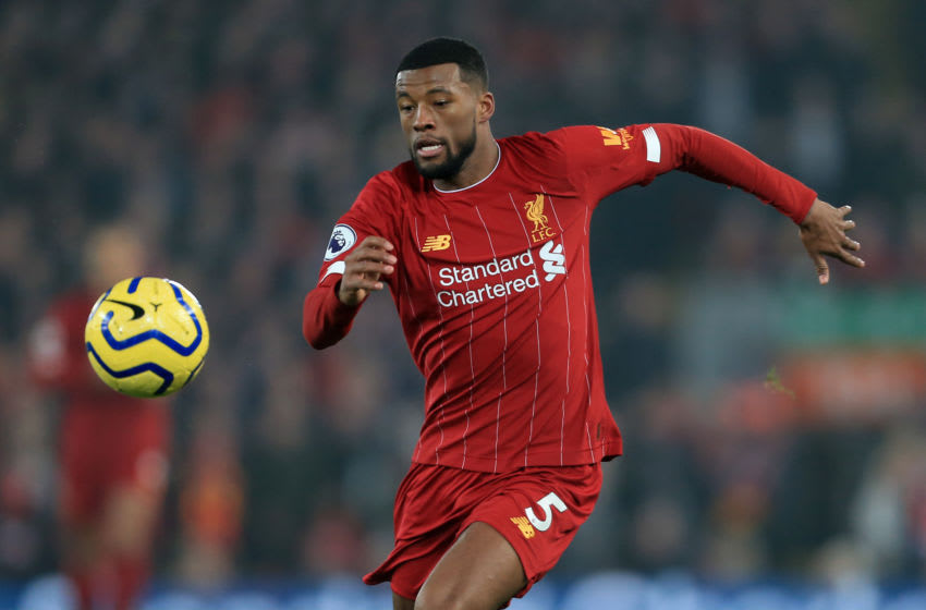 LIVERPOOL, ENGLAND - JANUARY 19: Georginio Wijnaldum of Liverpool in action during the Premier League match between Liverpool FC and Manchester United at Anfield on January 19, 2020 in Liverpool, United Kingdom. (Photo by Simon Stacpoole/Offside/Offside via Getty Images)