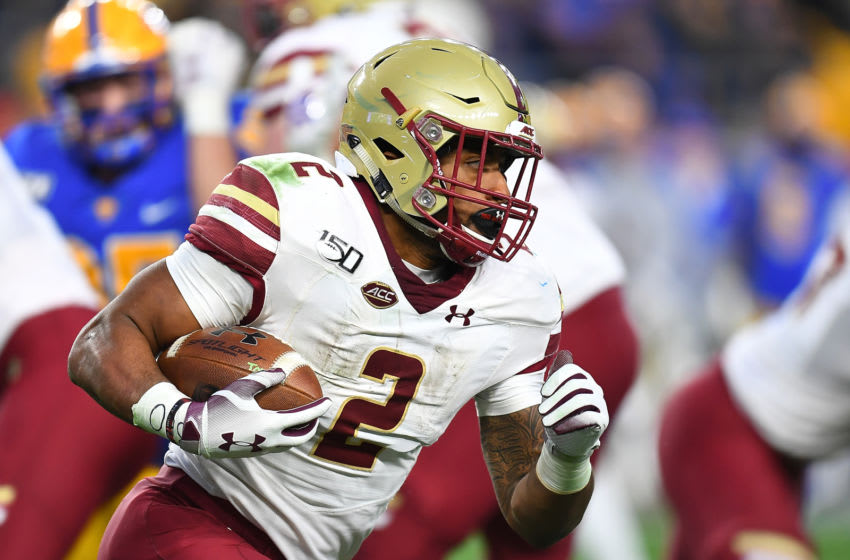 AJ Dillon, Boston College Eagles. (Photo by Joe Sargent/Getty Images)