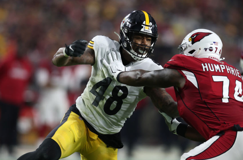 PHOENIX, AZ - DECEMBER 08: Bud Dupree #48 of the Pittsburgh Steelers in action during the game against the Arizona Cardinals at State Farm Stadium on December 8, 2019 in Glendale, Arizona. The Steelers defeated the Cardinals 23-17. (Photo by Rob Leiter via Getty Images)