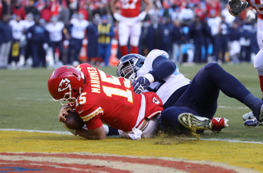 KANSAS CITY, MO - JANUARY 19: Kansas City Chiefs quarterback Patrick Mahomes (15) crosses the goal line at the end of a 27-yard touchdown run with 0:11 seconds left in the second quarter of the AFC Championship game between the Tennessee Titans and Kansas City Chiefs on January 19, 2020 at Arrowhead Stadium in Kansas City, MO. (Photo by Scott Winters/Icon Sportswire via Getty Images)