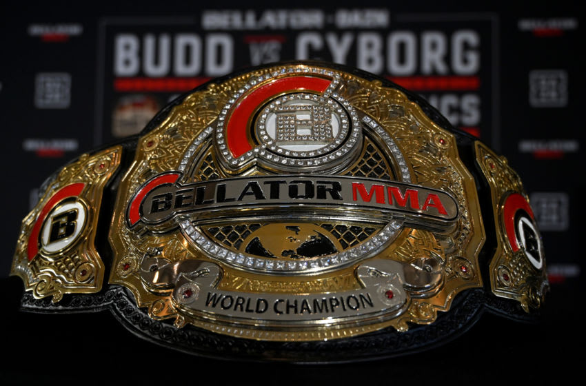 HOLLYWOOD, CA - JANUARY 23: Detailed view of the Bellator women's featherweight world champion belt on display during media day at the Paramount Theatre on January 23, 2020 in Hollywood, California. (Photo by Jayne Kamin-Oncea/Getty Images)