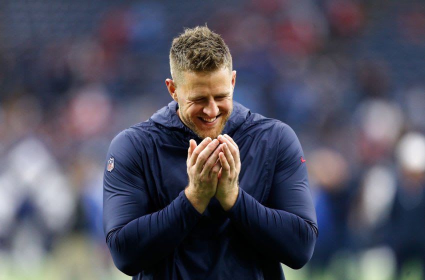 HOUSTON, TEXAS - DECEMBER 29: J.J. Watt #99 of the Houston Texans participates in warmups prior to a game against the Tennessee Titans at NRG Stadium on December 29, 2019 in Houston, Texas. (Photo by Bob Levey/Getty Images)