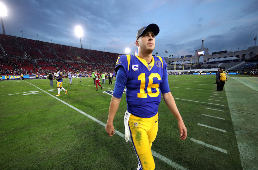 LOS ANGELES, CALIFORNIA - DECEMBER 29: Jared Goff #16 of the Los Angeles Rams walks off the field after defeating the Arizona Cardinals 31-24 in a game at Los Angeles Memorial Coliseum on December 29, 2019 in Los Angeles, California. (Photo by Sean M. Haffey/Getty Images)