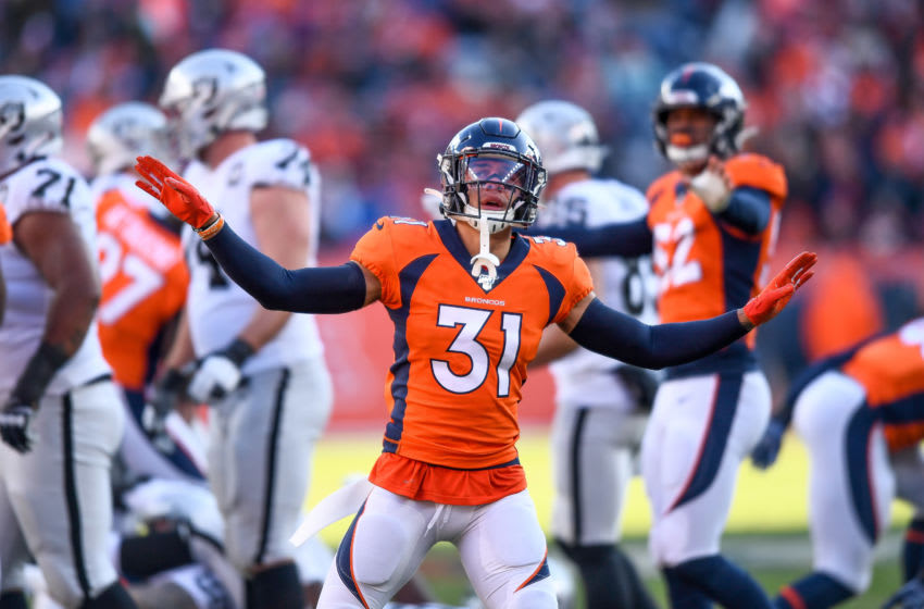 DENVER, CO - DECEMBER 29: Justin Simmons #31 of the Denver Broncos signals a missed field goal in the first quarter of a game against the Oakland Raiders at Empower Field at Mile High on December 29, 2019 in Denver, Colorado. (Photo by Dustin Bradford/Getty Images)