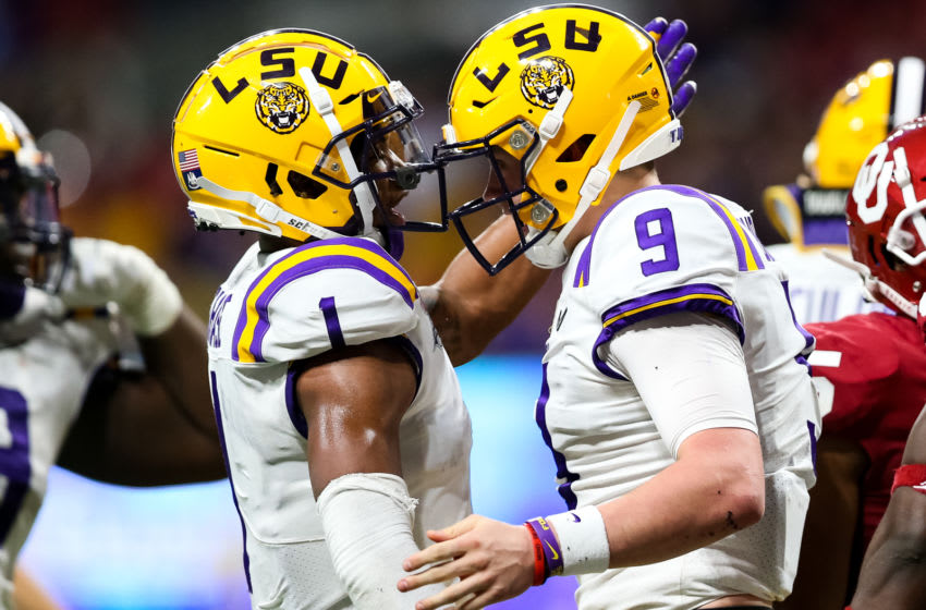 Ja'Marr Chase #1 and Joe Burrow #9 of the LSU Tigers. (Photo by Carmen Mandato/Getty Images)
