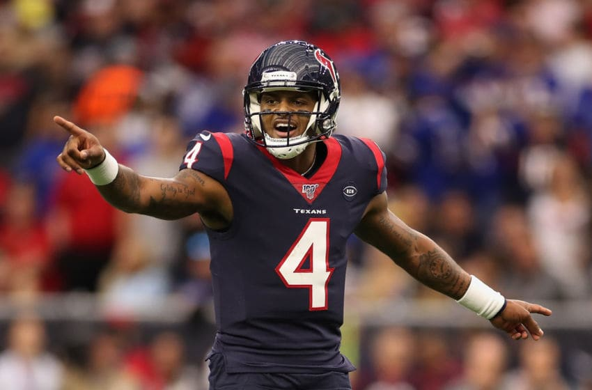 HOUSTON, TEXAS - JANUARY 04: Quarterback Deshaun Watson #4 of the Houston Texans sets a play during the NFL Wild Card playoff game against the Buffalo Bills at NRG Stadium on January 04, 2020 in Houston, Texas. (Photo by Christian Petersen/Getty Images)