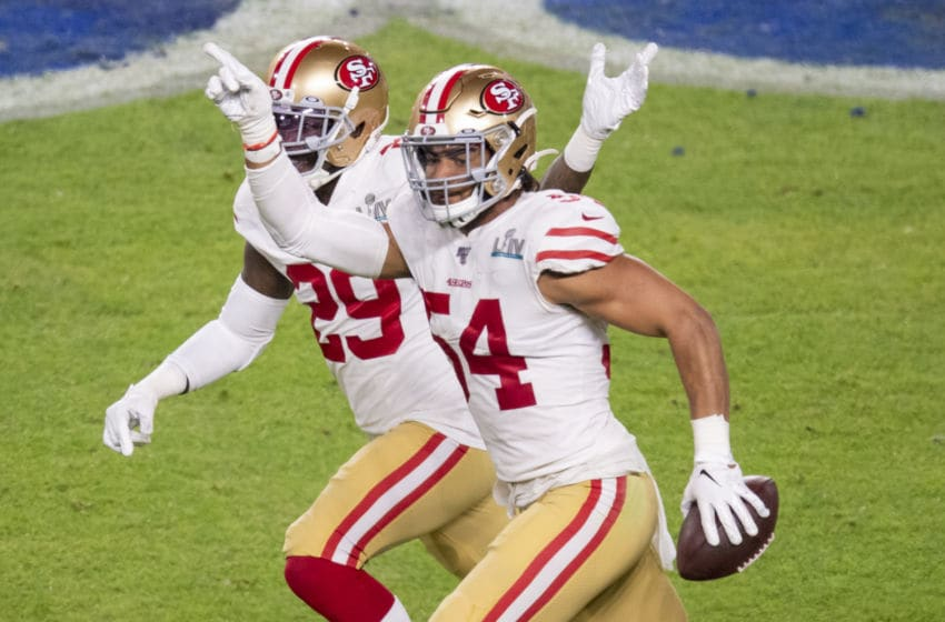 MIAMI GARDENS, FL - FEBRUARY 02: San Francisco 49ers Linebacker Fred Warner (54) gestures as he celebrates intercepting a pass from Kansas City Chiefs Quarterback Patrick Mahomes (not shown) with San Francisco 49ers Safety Jaquiski Tartt (29) during the NFL Super Bowl LIV game between the Kansas City Chiefs and the San Francisco 49ers at the Hard Rock Stadium in Miami Gardens, FL on February 2, 2020. (Photo by Doug Murray/Icon Sportswire via Getty Images)
