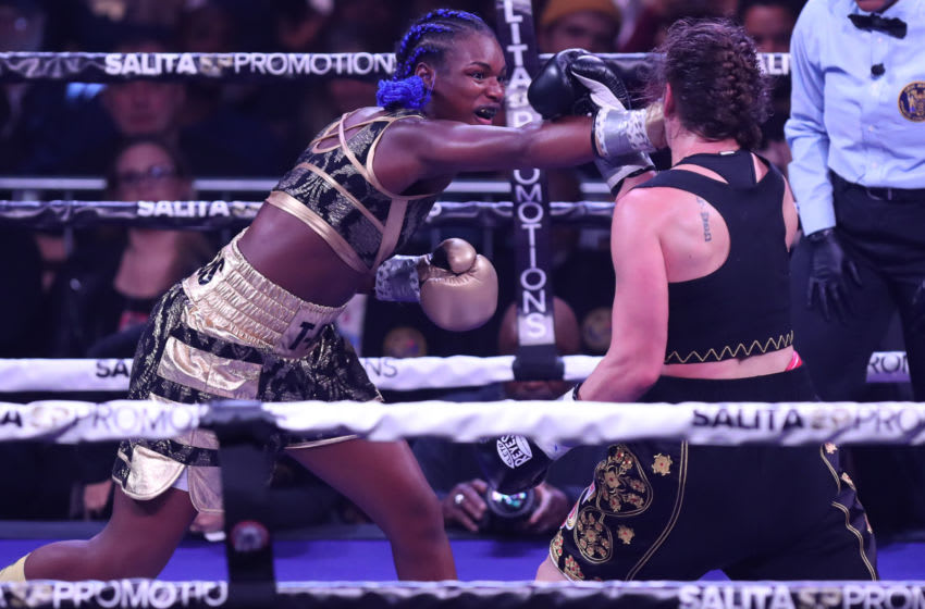 Claressa Shields lands a right hand against Ivana Habazin. (Photo by Edward Diller/Getty Images)