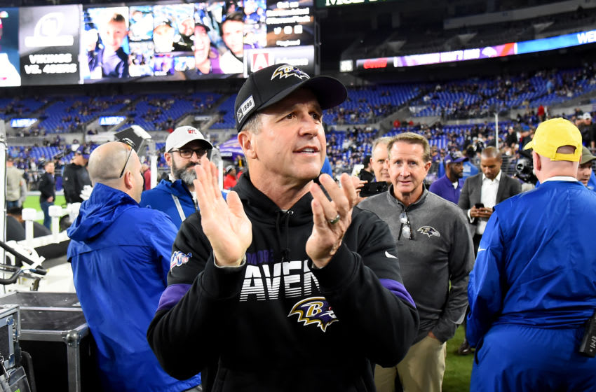 John Harbaugh, Baltimore Ravens. (Photo by Will Newton/Getty Images)