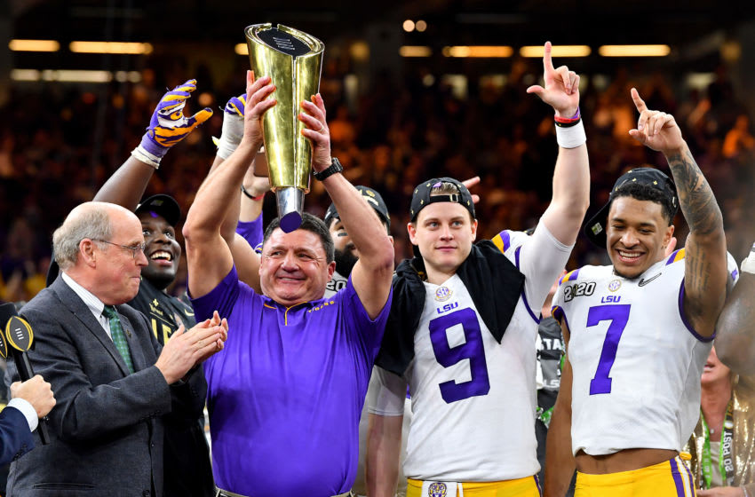 Ed Orgeron, Joe Burrow, Grant Delpit, LSU Tigers. (Photo by Alika Jenner/Getty Images)