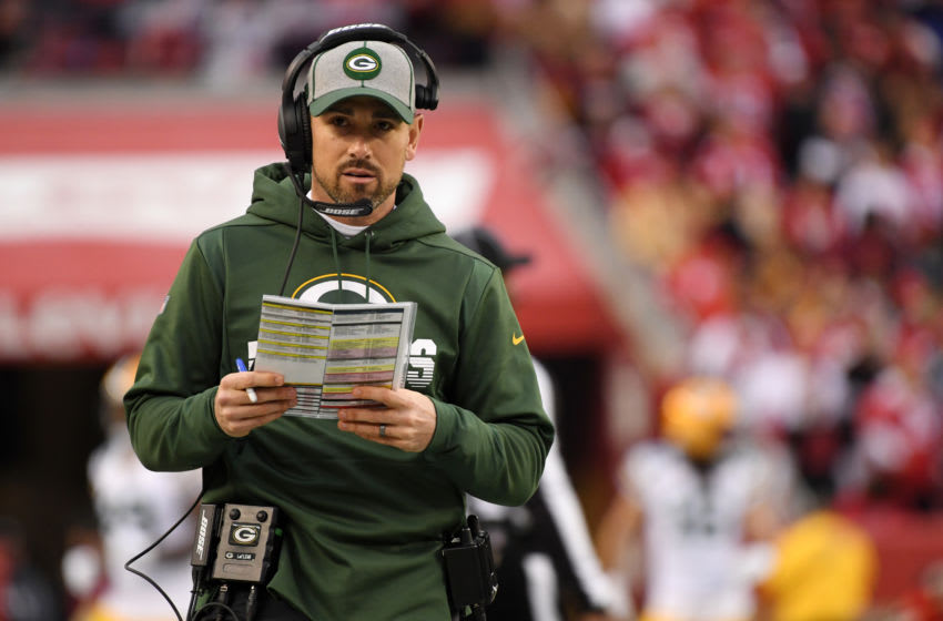 SANTA CLARA, CALIFORNIA - JANUARY 19: Head coach Matt LaFleur of the Green Bay Packers looks on from the sidelines in the first half against the San Francisco 49ers during the NFC Championship game at Levi's Stadium on January 19, 2020 in Santa Clara, California. (Photo by Harry How/Getty Images)