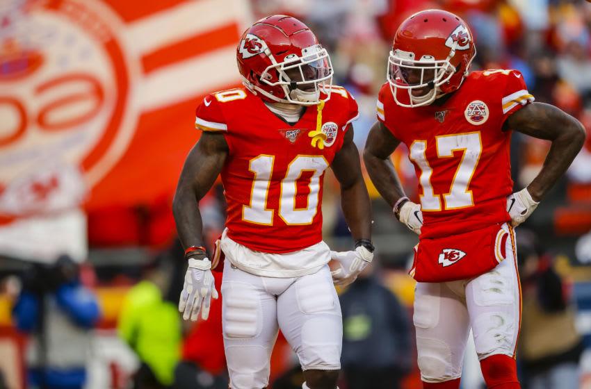 Tyreek Hill, Mecole Hardman, Kansas City Chiefs. (Photo by David Eulitt/Getty Images)