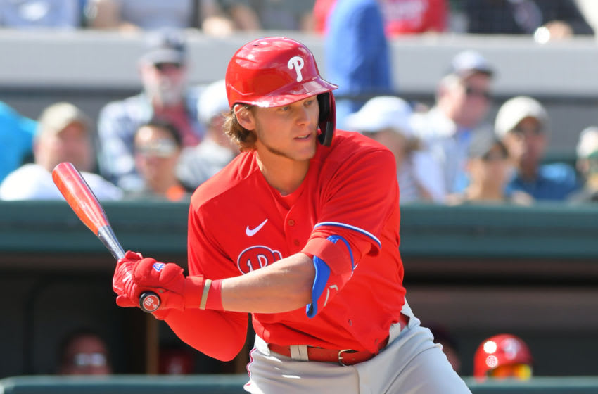 LAKELAND, FL - FEBRUARY 22: Alec Bohm #80 of the Philadelphia Phillies bats during the Spring Training game against the Detroit Tigers at Publix Field at Joker Marchant Stadium on February 22, 2020 in Lakeland, Florida. The game ended in an 8-8 tie. (Photo by Mark Cunningham/MLB Photos via Getty Images)