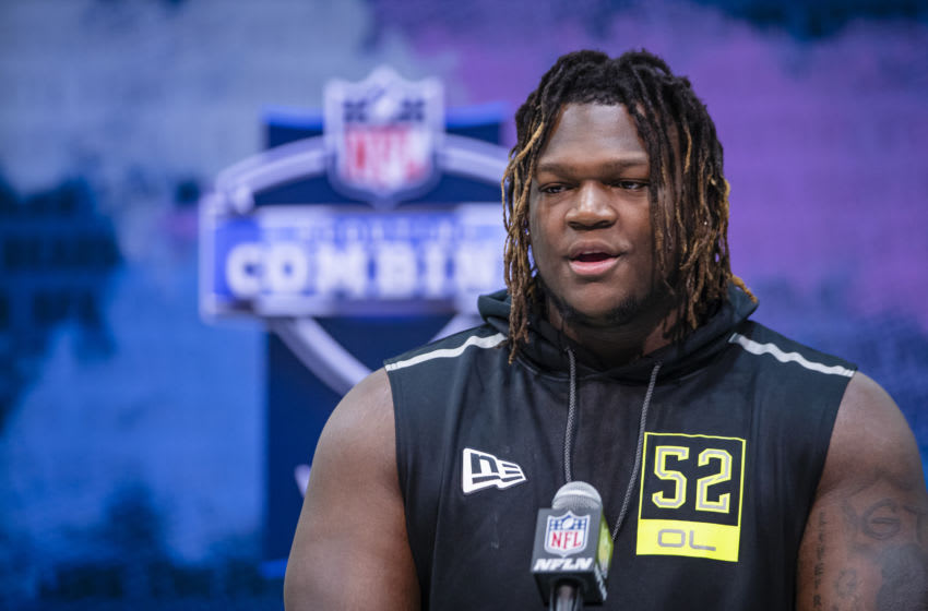 INDIANAPOLIS, IN - FEBRUARY 26: Isaiah Wilson #OL52 of the Georgia Bulldogs speaks to the media at the Indiana Convention Center on February 26, 2020 in Indianapolis, Indiana. (Photo by Michael Hickey/Getty Images) *** Local caption *** Isaiah Wilson