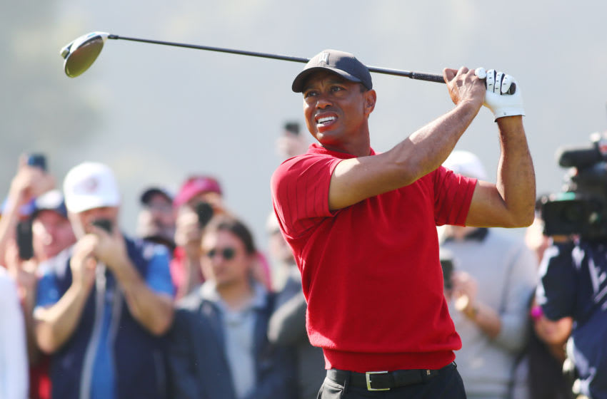 PACIFIC PALISADES, CALIFORNIA - FEBRUARY 16: Tiger Woods of the United States plays his shot from the 11th tee during the final round of the Genesis Invitational on February 16, 2020 in Pacific Palisades, California. (Photo by Tim Bradbury/Getty Images)