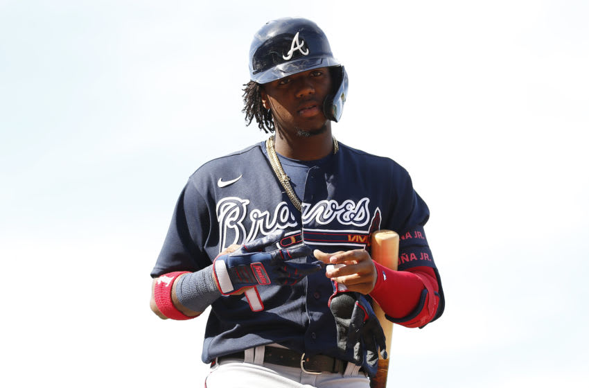 FORT MYERS, FLORIDA - MARCH 01: Ronald Acuna Jr. #13 of the Atlanta Braves in action against the Boston Red Sox during a Grapefruit League spring training game at JetBlue Park at Fenway South on March 01, 2020 in Fort Myers, Florida. (Photo by Michael Reaves/Getty Images)