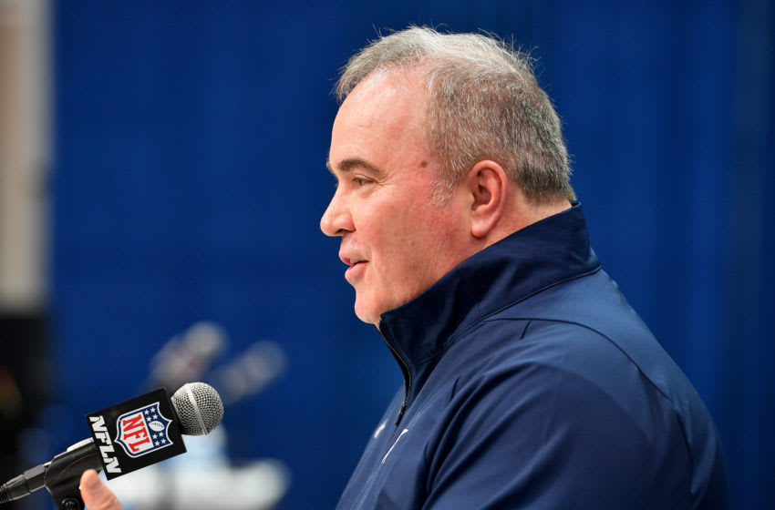 INDIANAPOLIS, INDIANA - FEBRUARY 26: Head coach Mike McCarthy of the Dallas Cowboys interviews during the second day of the 2020 NFL Scouting Combine at Lucas Oil Stadium on February 26, 2020 in Indianapolis, Indiana. (Photo by Alika Jenner/Getty Images)