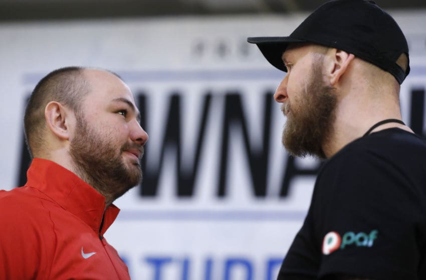 Adam Kownacki (L) and Robert Helenius face off.(Photo by Michael Owens/Getty Images)