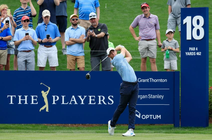 PONTE VEDRA BEACH, FLORIDA - MARCH 10: Rory McIlroy of Northern Ireland plays his shot from the 18th tee during a practice round prior to The PLAYERS Championship on The Stadium Course at TPC Sawgrass on March 10, 2020 in Ponte Vedra Beach, Florida. (Photo by Cliff Hawkins/Getty Images)