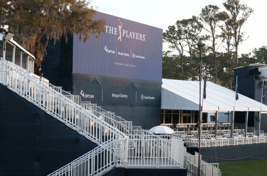 PONTE VEDRA BEACH, FLORIDA - MARCH 13: A vacant grandstand is seen on the 17th hole after the cancellation of the The PLAYERS Championship and consecutive PGA Tour events through April 5th,2020 due to the COVID-19 pandemic as seen at The Stadium Course at TPC Sawgrass on March 13, 2020 in Ponte Vedra Beach, Florida. (Photo by Matt Sullivan/Getty Images)