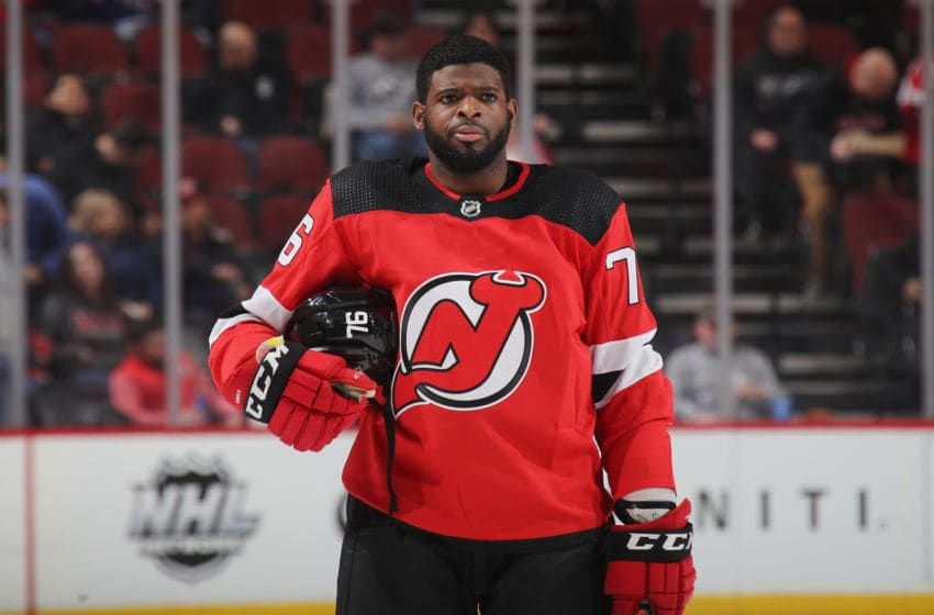 NEWARK, NEW JERSEY - MARCH 06: P.K. Subban #76 of the New Jersey Devils prepares to play against the St. Louis Blues at the Prudential Center on March 06, 2020 in Newark, New Jersey. The Devils defeated the Blues 4-2. (Photo by Bruce Bennett/Getty Images)