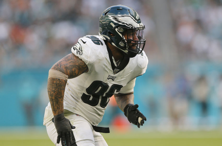 MIAMI, FLORIDA - DECEMBER 01: Derek Barnett #96 of the Philadelphia Eagles in action against the Miami Dolphins during the fourth quarter at Hard Rock Stadium on December 01, 2019 in Miami, Florida. (Photo by Michael Reaves/Getty Images)