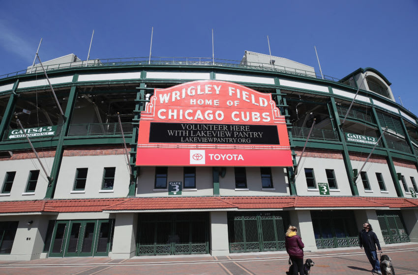 CHICAGO, ILLINOIS - APRIL 16: A general view of the marquee outside of Wrigley Field on April 16, 2020 in Chicago Illinois. Wrigley Field has been converted to a temporary satellite food packing and distribution center in cooperation with the Lakeville Food Pantry to support ongoing relief efforts underway in the city a result of the COVID-19 pandemic. (Photo by Jonathan Daniel/Getty Images)