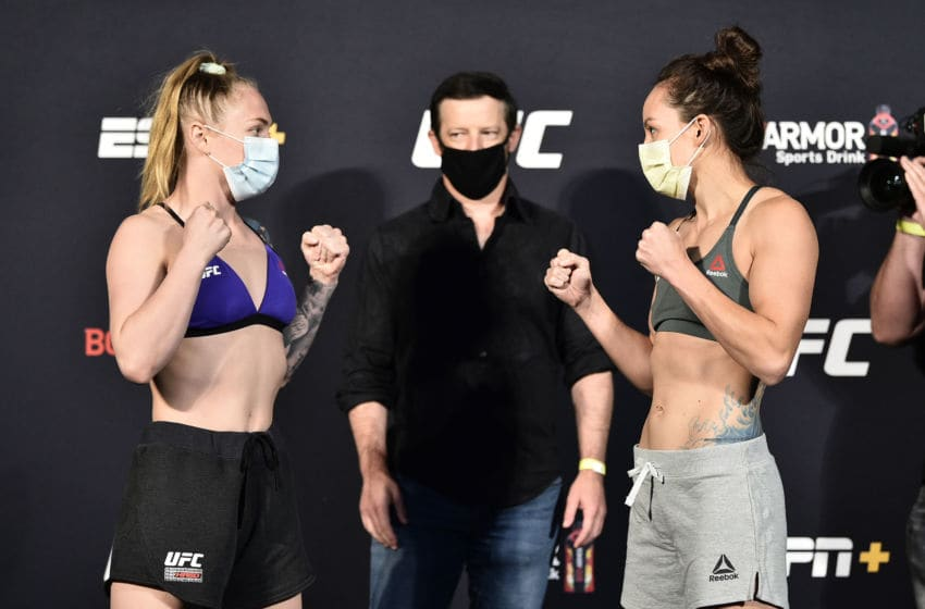 Kay Hansen and Jinh Yu Frey face off (Photo by Chris Unger/Zuffa LLC via Getty Images)
