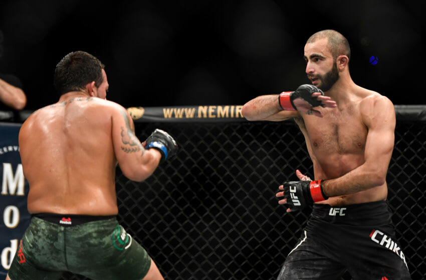 JACKSONVILLE, FL - MAY 16: Giga Chikadze (R) of Georgia fights Irwin Rivera (L) of the United States in their Featherweight bout during UFC Fight Night at VyStar Veterans Memorial Arena on May 16, 2020 in Jacksonville, Florida. (Photo by Douglas P. DeFelice/Getty Images)