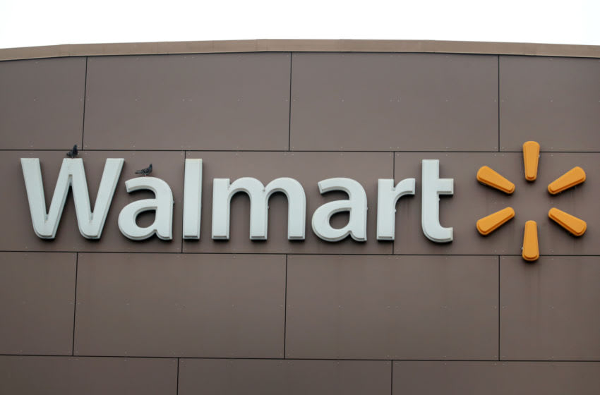 CHICAGO, ILLINOIS - MAY 19: A sign hangs outside of a Walmart store on May 19, 2020 in Chicago, Illinois. Walmart reported a 74% increase in U.S. online sales for the quarter that ended April 30, and a 10% increase in same store sales for the same period as the effects of the coronavirus helped to boost sales. (Photo by Scott Olson/Getty Images)