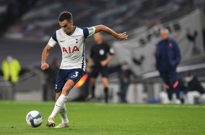 Tottenham Hotspur's Spanish defender Sergio Reguilon controls the ball during the English League Cup fourth round football match between Tottenham Hotspur and Chelsea at Tottenham Hotspur Stadium in London, on September 29, 2020. (Photo by NEIL HALL / AFP) / RESTRICTED TO EDITORIAL USE. No use with unauthorized audio, video, data, fixture lists, club/league logos or 'live' services. Online in-match use limited to 120 images. An additional 40 images may be used in extra time. No video emulation. Social media in-match use limited to 120 images. An additional 40 images may be used in extra time. No use in betting publications, games or single club/league/player publications. / (Photo by NEIL HALL/AFP via Getty Images)