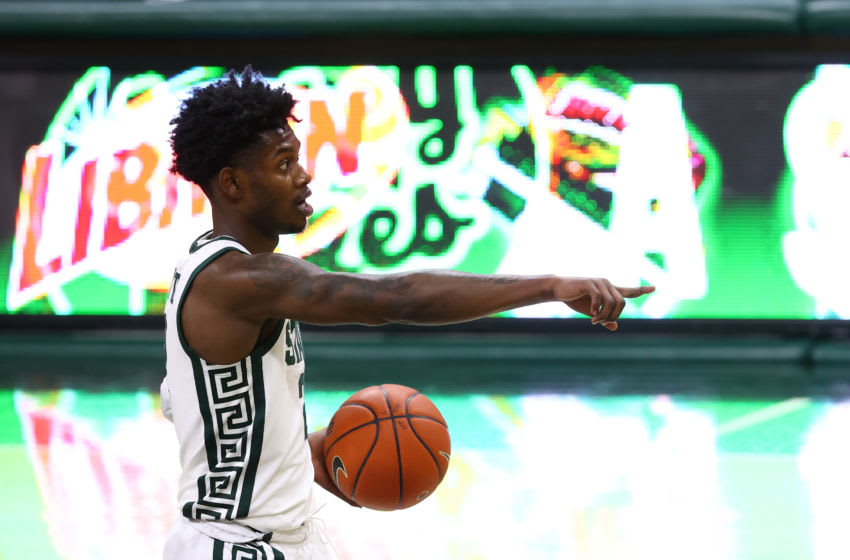 EAST LANSING, MI - DECEMBER 06: Rocket Watts #2 of the Michigan State Spartans calls for a play in the first half of the game against the Western Michigan Broncos at Breslin Center on December 6, 2020 in East Lansing, Michigan. (Photo by Rey Del Rio/Getty Images)