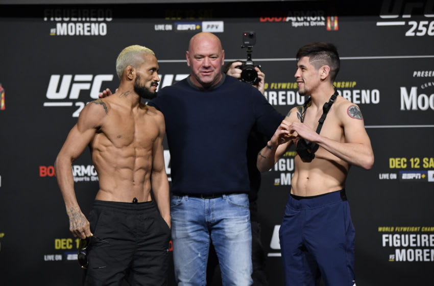 LAS VEGAS, NEVADA - DECEMBER 11: In this handout image provided by UFC, (L-R) Deiveson Figueiredo of Brazil and Brandon Moreno of Mexico face off during the UFC 256 weigh-in at UFC APEX on December 11, 2020 in Las Vegas, Nevada. (Photo by Jeff Bottari/Zuffa LLC via Getty Images)