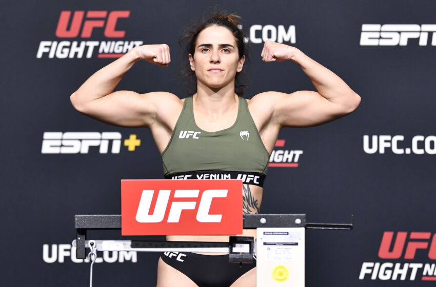 LAS VEGAS, NEVADA - MAY 21: In this UFC handout, Norma Dumont of Brazil poses on the scale during the UFC Fight Night weigh-in at UFC APEX on May 21, 2021 in Las Vegas, Nevada. (Photo by Chris Unger/Zuffa LLC/Getty Images)