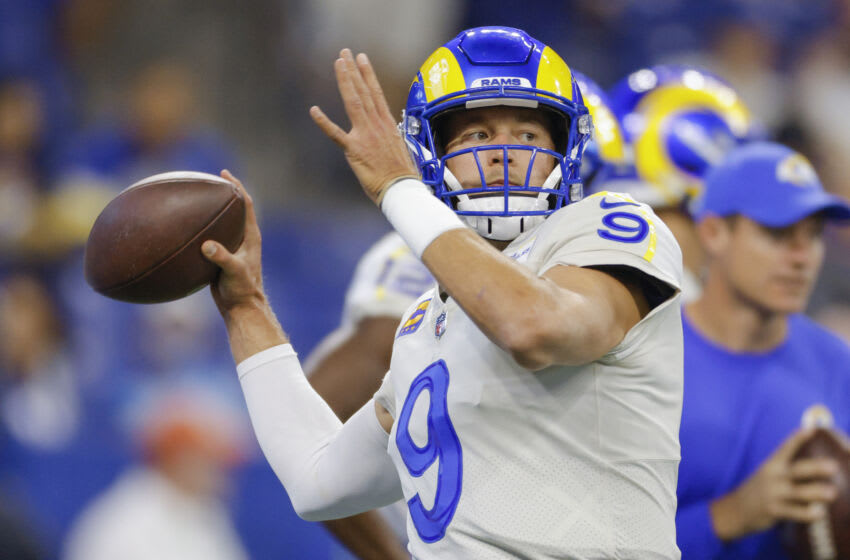INDIANAPOLIS, IN - SEPTEMBER 19: Matthew Stafford #9 of the Los Angeles Rams is seen before the game against the Indianapolis Colts at Lucas Oil Stadium on September 19, 2021 in Indianapolis, Indiana. (Photo by Michael Hickey/Getty Images)