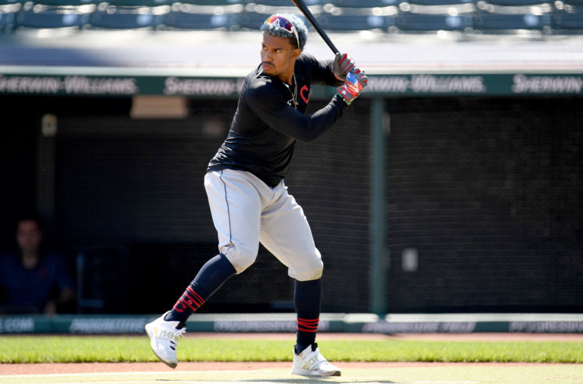 CLEVELAND, OHIO - JULY 06: Francisco Lindor #12 of the Cleveland Indians bats during summer workouts at Progressive Field on July 06, 2020 in Cleveland, Ohio. (Photo by Jason Miller/Getty Images)