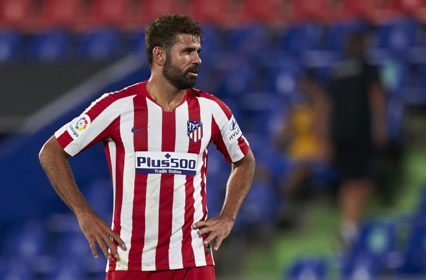 GETAFE, SPAIN - JULY 16: Diego Costa of Club Atletico de Madrid looks on during the La Liga match between Getafe CF and Club Atletico de Madrid at Coliseum Alfonso Perez on July 16, 2020 in Getafe, Spain. (Photo by Mateo Villalba/Quality Sport Images/Getty Images)