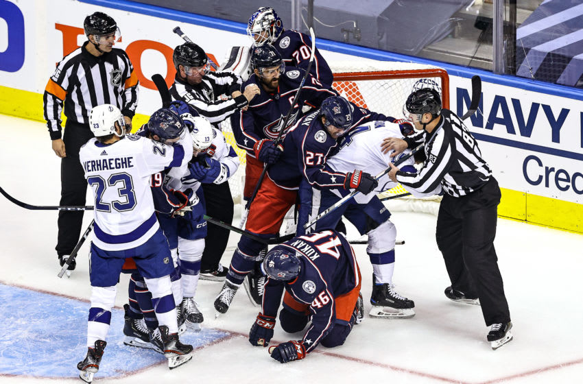 TORONTO, ONTARIO - AUGUST 15: The Tampa Bay Lightning and Columbus Blue Jackets mix it up during the first period in Game Three of the Eastern Conference First Round during the 2020 NHL Stanley Cup Playoffs at Scotiabank Arena on August 15, 2020 in Toronto, Ontario. (Photo by Elsa/Getty Images)