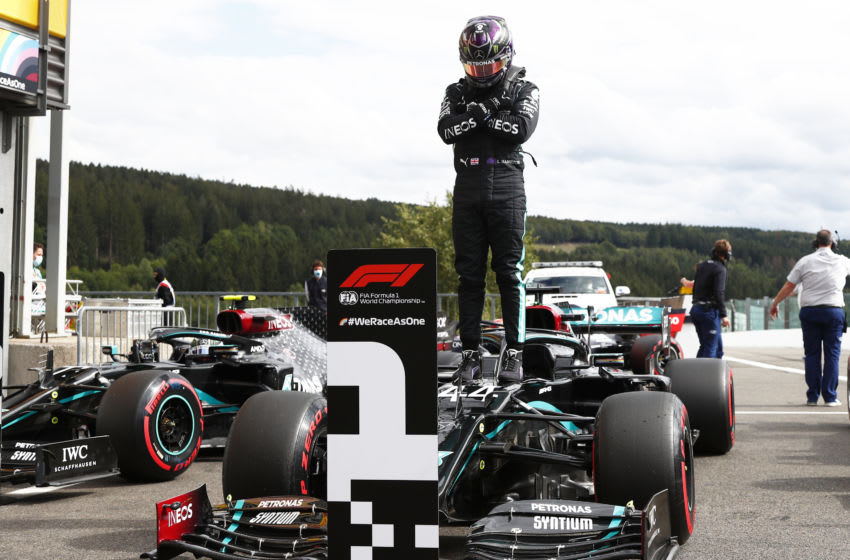 SPA, BELGIUM - AUGUST 29: Pole position qualifier Lewis Hamilton of Great Britain and Mercedes GP celebrates in parc ferme during qualifying for the F1 Grand Prix of Belgium at Circuit de Spa-Francorchamps on August 29, 2020 in Spa, Belgium. (Photo by Francois Lenoir/Pool via Getty Images)