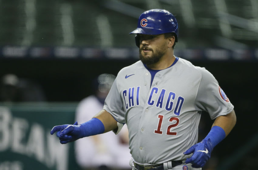 DETROIT, MI - AUGUST 26: Kyle Schwarber #12 of the Chicago Cubs celebrates after hitting a solo home run against the Detroit during the sixth inning at Comerica Park on August 26, 2020 in Detroit, Michigan. (Photo by Duane Burleson/Getty Images)